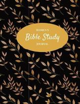 Women's Bible Study Journal: Christian Women's Bible Study Notebook with Gold on Black Design - Daily Scripture Study, Prayer, and Praise - 4 Weeks