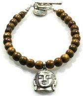 Heaven Eleven - Cognackleurige houtenkralen armband met Boeddha