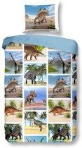 Snoozing Dinosaur - Flanel - Dekbedovertrek - Eenpersoons - 140x200/220 cm + 1 kussensloop 60x70 cm - Multi kleur