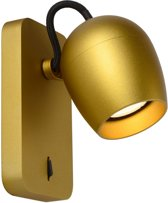 Lucide PRESTON Wandspot - LED Dim to warm - GU10 - 1x5W 2200K/3000K - Mat Goud / Messing