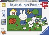 Ravensburger nijntje bij de dieren- Twee puzzels van 12 stukjes - kinderpuzzel