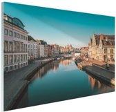 Stad in Europa Glas 90x60 cm - Foto print op Glas (Plexiglas wanddecoratie)