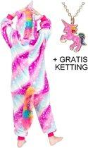 Eenhoorn Onesie Unicorn paars huispak kostuum kinderen - 128-134 (130) + GRATIS ketting verkleedkleding jurk