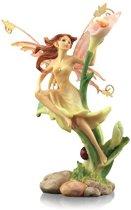 Elfje, staand, roze bloem, oranje vleugels - geel - S