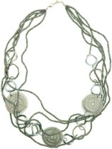 Behave® ketting grijs met ronde bewerkte kralen 90 cm