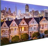 Huizen San Francisco Aluminium 120x80 cm - Foto print op Aluminium (metaal wanddecoratie)