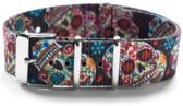 Premium Design Print Skull - Nato strap 20mm - horlogeband multi kleur