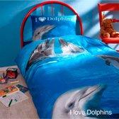 Day Dream I love Dolphins dekbedovertrek - Blauw - 1-persoons (140x200 cm + 1 sloop)