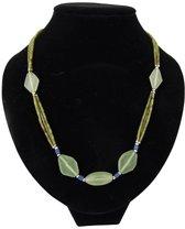 Bohemian ketting Jade ruitjes - Edelsteen collier - 47 cm