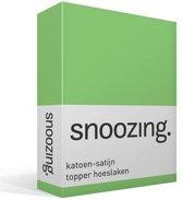 Snoozing - Katoen-satijn - Topper - Hoeslaken - Eenpersoons - 90x200 cm - Lime