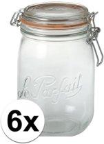 6x stuks Weckpotten/inmaakpotten met klepdeksel 1 liter