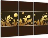 Canvas schilderij Art | Bruin, Goud | 120x80cm 3Luik