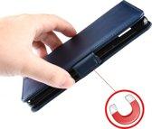 Mobigear Magnetic Buckle Retro Luxe Wallet Hoesje Donker Blauw Motorola One Zoom