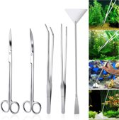 Aquarium planten verzorgings set - 2x lange Aquariumschaar, 2x Pincet, 1 Schraper - RVS