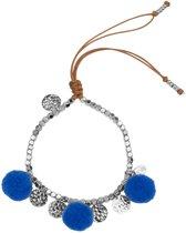 Jozemiek Pompom Armband 14K Witgoud - Blauw