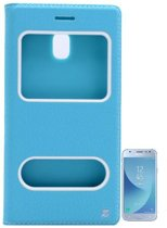 Teleplus Samsung J3 Pro Galaxy Double Window Case Turquoise + Glass Screen Protector hoesje