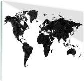 Wereldkaart zwart Glas 60x40 cm - Foto print op Glas (Plexiglas wanddecoratie)