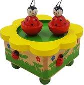 Afbeelding van Houten Muziekdoos met dansende lieveheersbeestjes speelgoed
