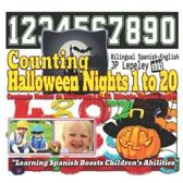 Counting Halloween Nights 1 to 20. Bilingual Spanish-English