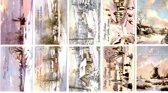 50 Luxe Kerst- en Nieuwjaarskaarten - 9,5x14cm  - 10 x 5 dubbele kaarten met enveloppen - serie Landschap