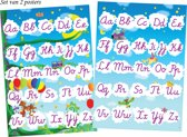 Tooby ABC posters / alfabet set van 2 posters / lichtblauwe lucht als achtergrond