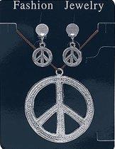 Peace ketting en oorbellen