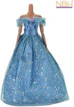 Blauwe Prinsessenjurk of trouwjurk met glitters voor de Barbie pop