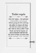 Toilet Regels -  Lichtblauw -  80 x 101 cm  - Muursticker4Sale