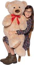 Afbeelding van MaxxHome Teddybeer - Knuffelbeer - 100 cm - Licht bruin - Zacht pluche speelgoed