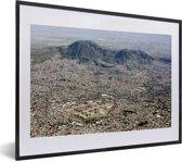 Foto in lijst - Uitzicht vanuit de lucht over Mexico-stad fotolijst zwart met witte passe-partout klein 40x30 cm - Poster in lijst (Wanddecoratie woonkamer / slaapkamer)