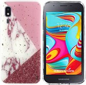 BackCover Marble Glitter voor Samsung A2 Core Wit
