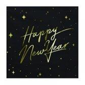 Servetten Happy New Year Zwart (20 stuks)