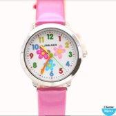 Horloge- Tiener- Kind- Roze- Bloem- 3 cm