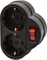 Allteq - Stopcontact schakelaar - 2-voudig - Zwart