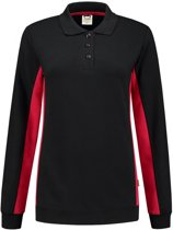 Tricorp polosweater bi-color dames - 302002 - zwart / rood - maat 3XL