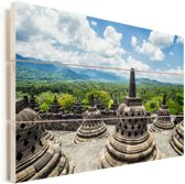 Witte wolken boven de Borobudur tempel Vurenhout met planken 30x20 cm - klein - Foto print op Hout (Wanddecoratie)
