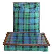 Margot Steel  laptray/schoottafel dubbele groen/blauw/zwarte tartan - 41 x 31 10 cm