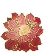 Behave® Broche bloem rood emaille