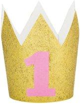 Mini kroon glitter 1 jaar roze