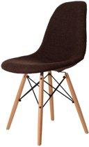 Design eetkamerstoel DD DSW upholstered donkerbruin kuipstoel