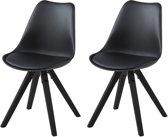 24Designs Stoel DEX - Zwarte zitting - Zwarte houten poten - Set van 2