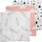 Meyco 3-pack hydrofiele luiers Feather-Clouds-Dots roze/wit/grijs/zwart