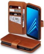 Qubits - luxe echt lederen wallet hoes - Samsung Galaxy A8 2018 - cognac