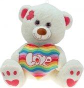 Pluche knuffelbeer met regenboog hart 30 cm