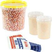 Popcornmais zoet startpakket 1,5 KG mais, popcorn suiker en puntzakjes