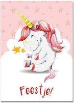 Kinderfeestje uitnodigingen Eenhoorn Unicorn DesignClaud - Roze - Kinderkaarten - 10 stuks