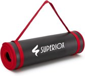 Superiox Yoga Mat - Fitnessmat - Yogamat Extra Lang en Dik - 185 x 66 x 1.1cm - Incl. Draagriem en Draagtas - Zwart