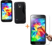 Comutter Silicone hoesje Samsung Galaxy S5 zwart met tempered glas screenprotector