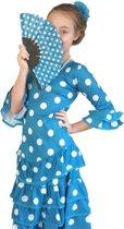 Spaanse jurk - Flamenco - Deluxe - blauw wit - maat 140/146 (12) - Verkleedkleding