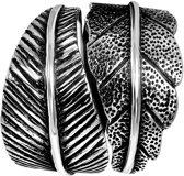 Lucardi - Zilveren ring blad breed Bali